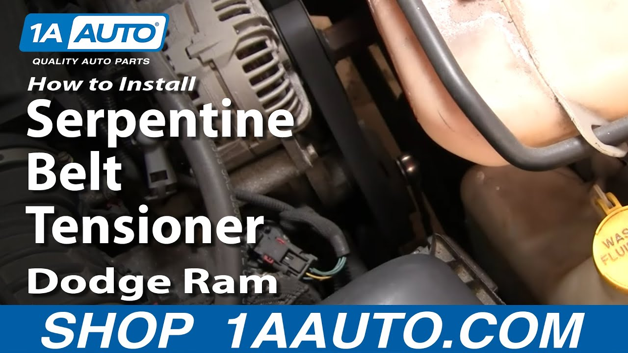 hight resolution of how to install repair replace serpentine belt tensioner dodge ram 02 08 5 7l hemi 1aauto com