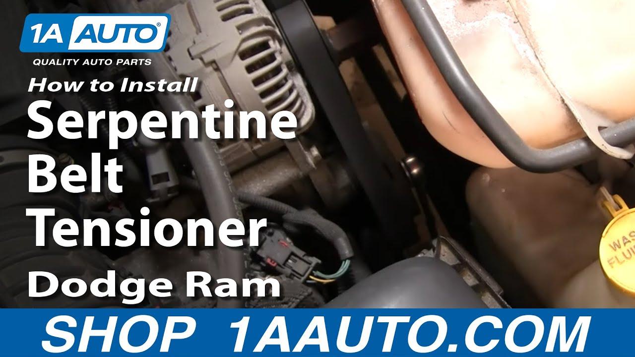 how to install repair replace serpentine belt tensioner dodge ram 02 08 5 7l hemi 1aauto com [ 1280 x 720 Pixel ]