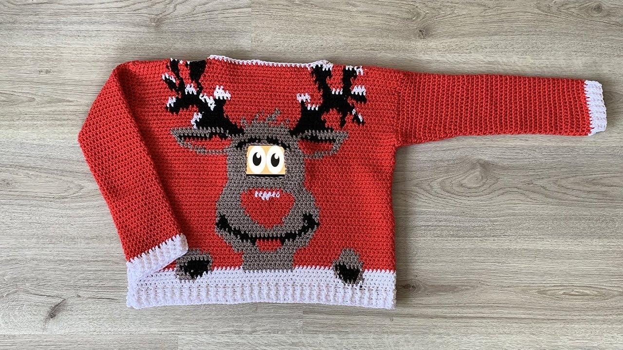 Reindeer Christmas Sweater Free Crochet Pattern Youtube