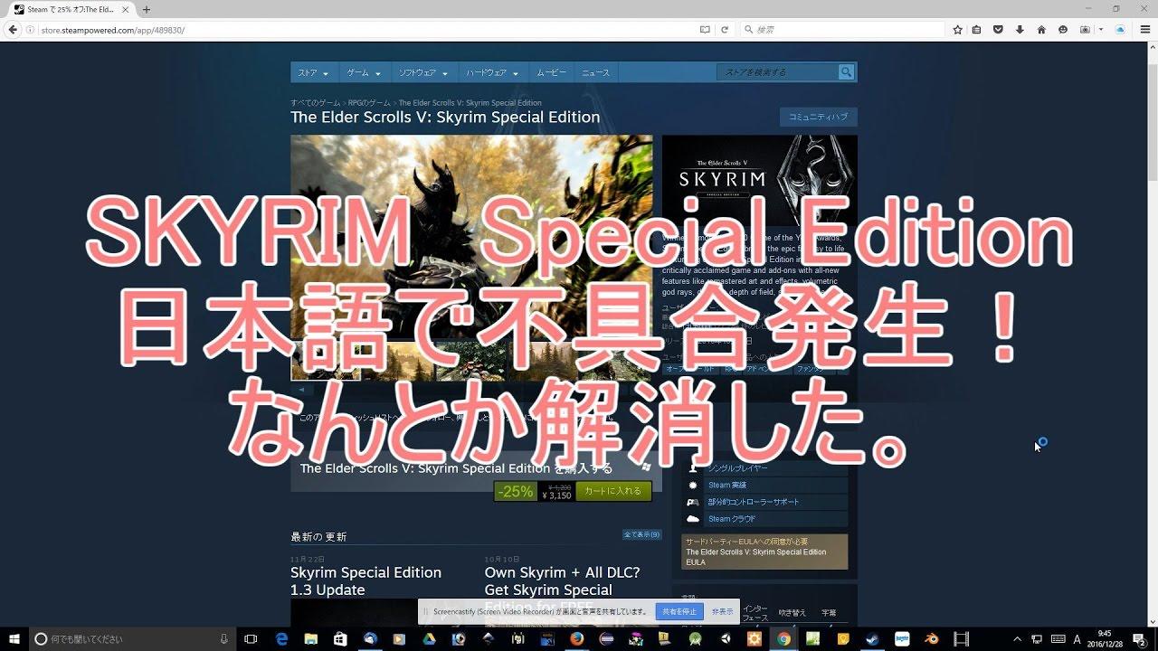 Skyrim Special Edition(日本語)が安かったが、エラー発生したので、英語を日本語化【Steam】【PC】【スカイリム】