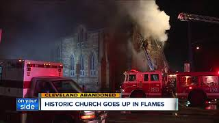 Firefighters spent hours putting out flames inside historic Akron church dating back to the 1880s