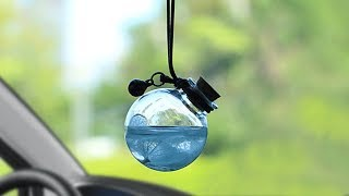 ✅Auto Pendant Glass fragrance Empty Hanging Bottle With Flower vehicle Interior Decoration