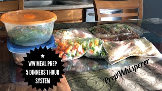 WW Dinner Meal Prep using 5 Dinners 1 Hour System