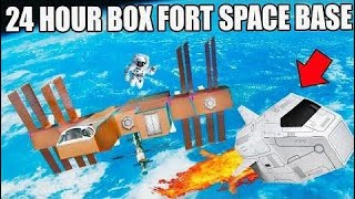 24 Hour Box Fort Space Base Challenge!! Visiting A Planet, Box Fort...