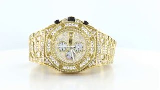Mens Luxury High End Gold Tone Lab Diamonds Watch(, 2016-02-24T16:15:43.000Z)