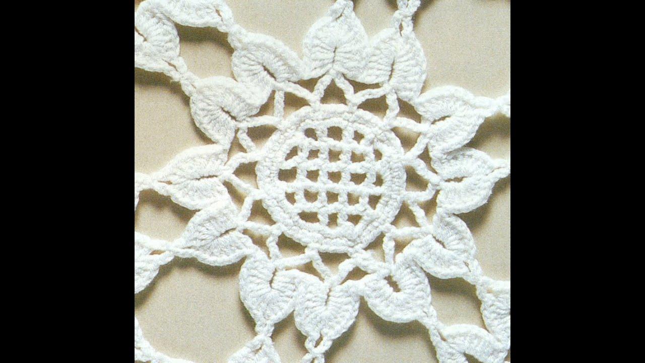 Patrón para tejer mantel redondo con flores a crochet - YouTube