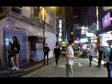 Hong Kong at Night - Lan Kwai Fong Party Street - HD