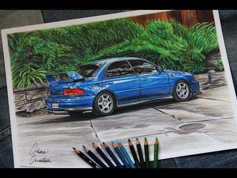 SUBARU IMPREZA WRX GC8 Blue JDM Car Drawing | Orhan Ozvatan