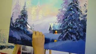 Пишем зимний пейзаж. Видеоуроки живописи. Дмитрий Захаров.