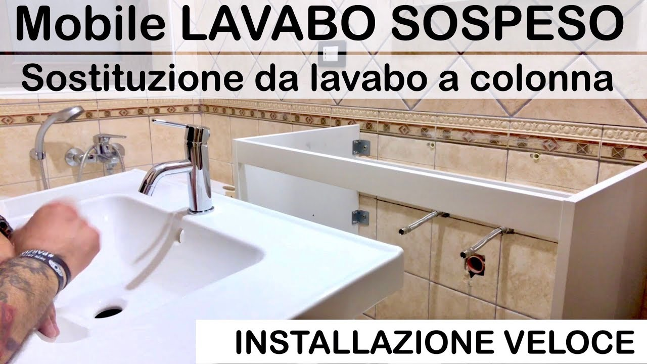 How To Mount A Bathroom Furniture With A Wall Mounted Washbasin Column Sink Replacement Ikea Digs