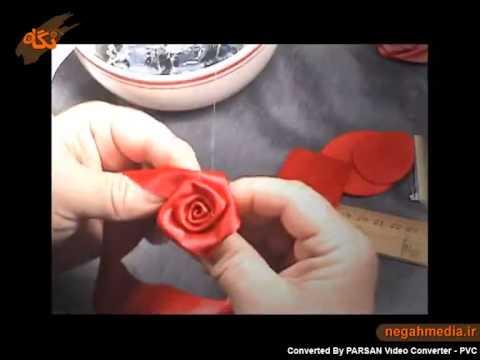 ساخت گل رز با روبان