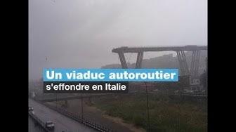 EN IMAGES - Le spectaculaire effondrement d'un pont autoroutier en Italie