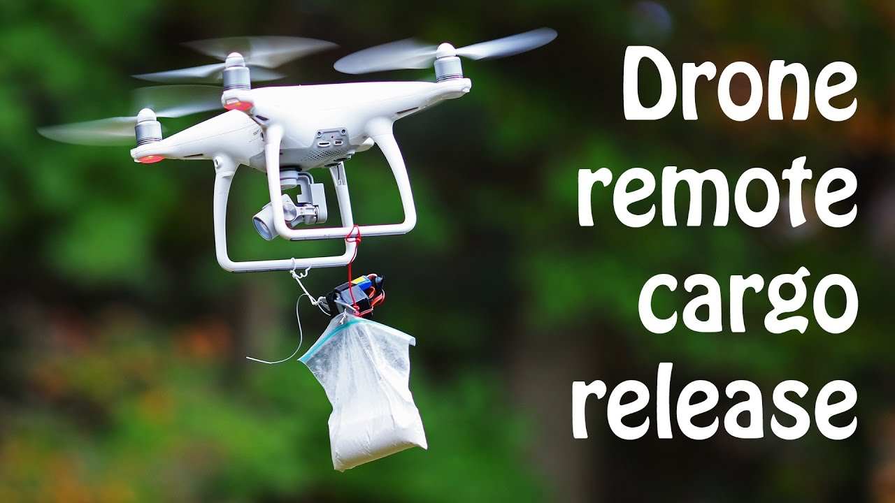 Drone quadcopter remote cargo release how to build youtube for Drone fishing line release