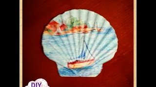 decoupage seashell ideas DIY decorations craft tutorial / URADI SAM Dekupaž