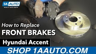 How to Replace Install Front Brakes 2007 Hyundai Accent смотреть