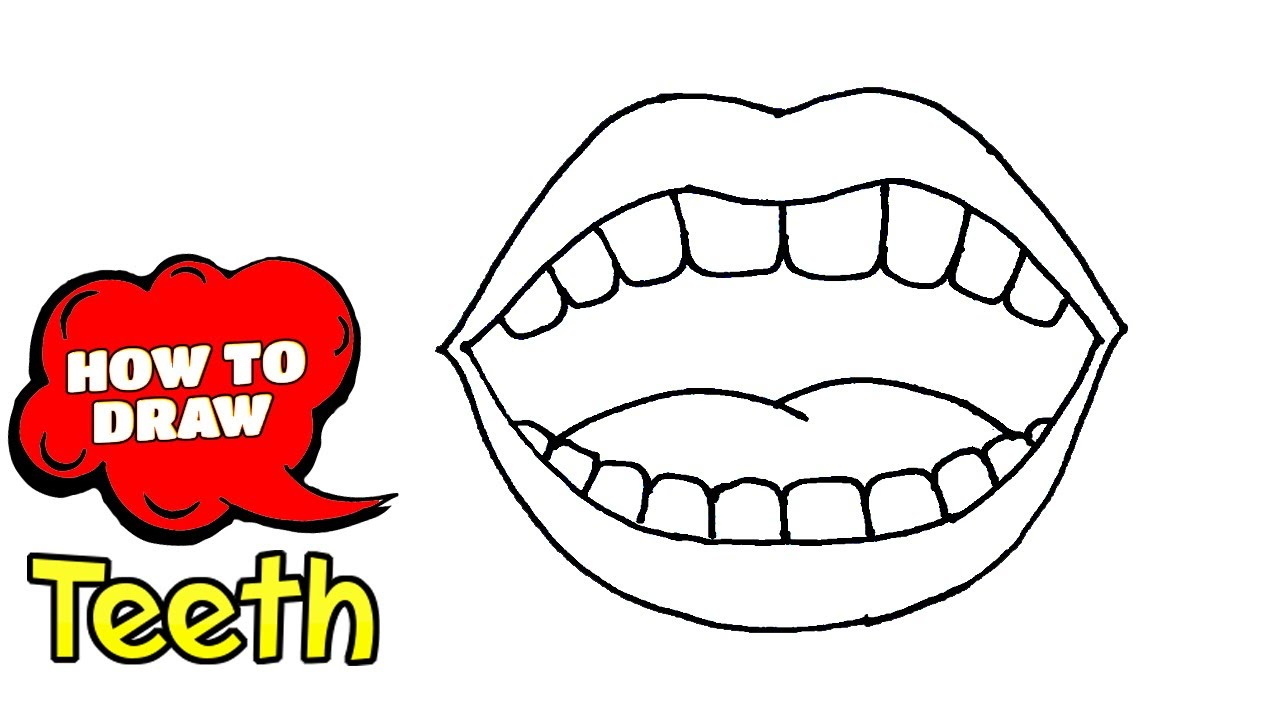 How To Draw Teeth Teeth Drawing Cartoon Step By Step Guides Easy Drawing With Pen Youtube