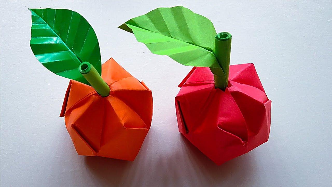Origami Buah Apel Cara Membuat Buah Apel Dari Kertas Origami Youtube