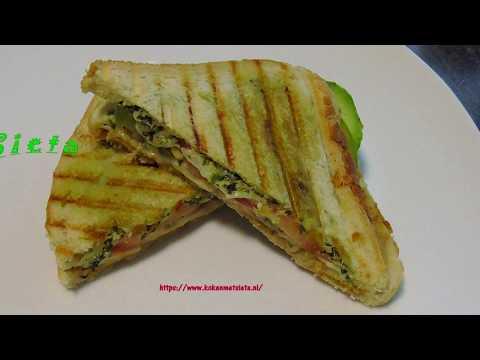 Tosti met groene  en rode chutney/pesto en chaat masala