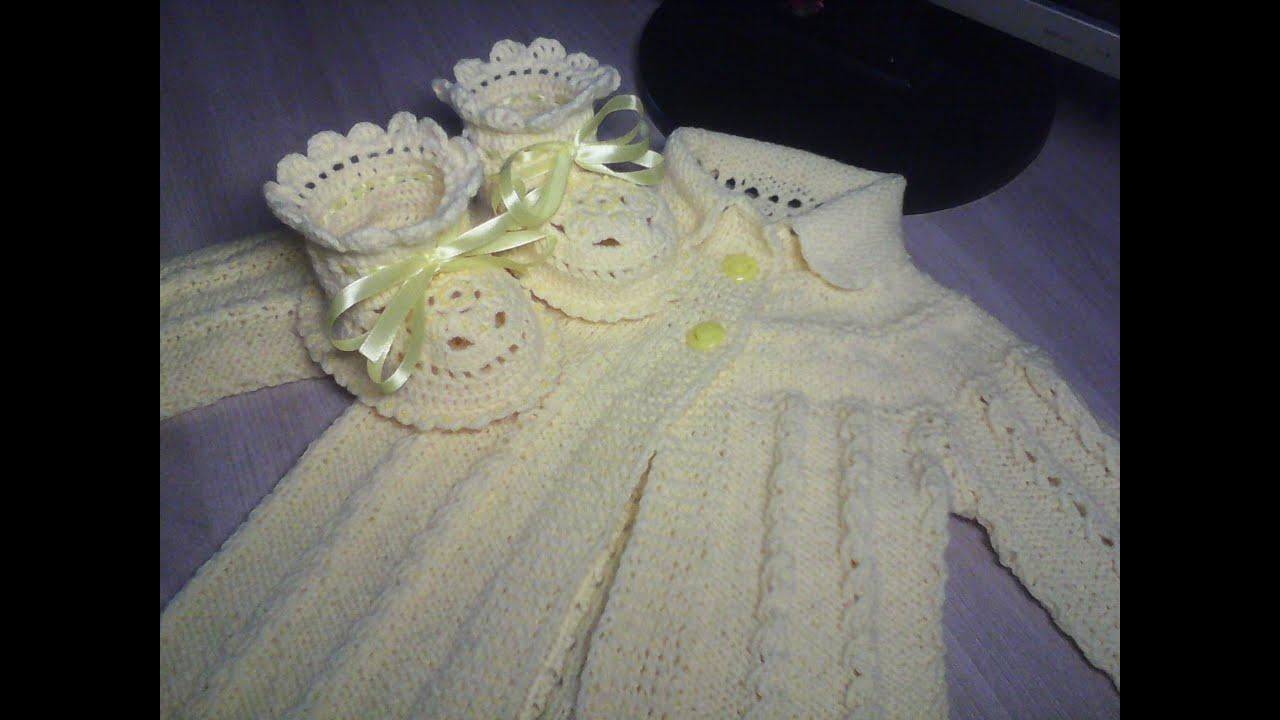 детская кофточка спицами для новорожденной 1 часть Youtube