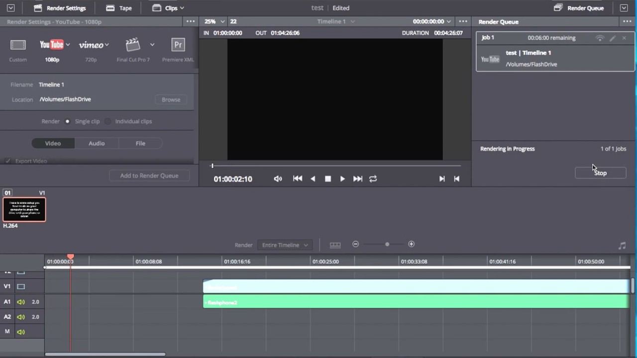 Export a video for YouTube in DaVinci Resolve