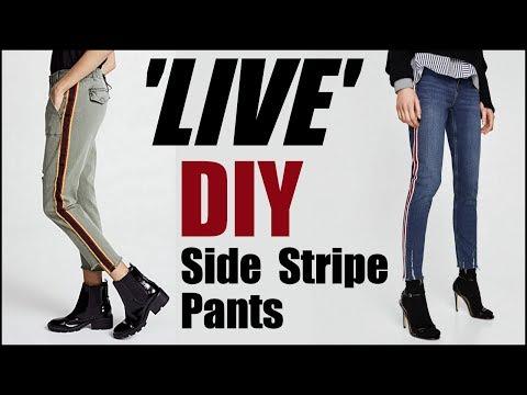 DIY: Side Stipe Pants- LIVESTREAM w/ My Teenage Niece -By Orly Shani