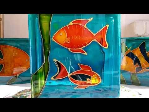 Painted glass block - aquarium fishes #2