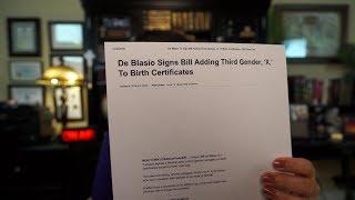 NY Mayor DeBlasio is a LUNATIC Altaring God's Law adding 3rd Gender 'X'