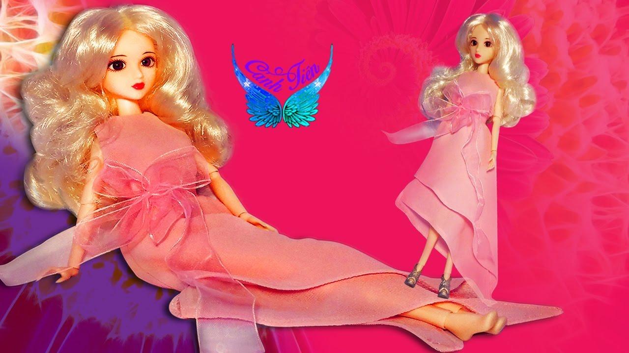Hướng dẫn may váy cho búp bê Barbie Siêu Dễ tương (Váy voan 2 lớp thắt nơ hồng)