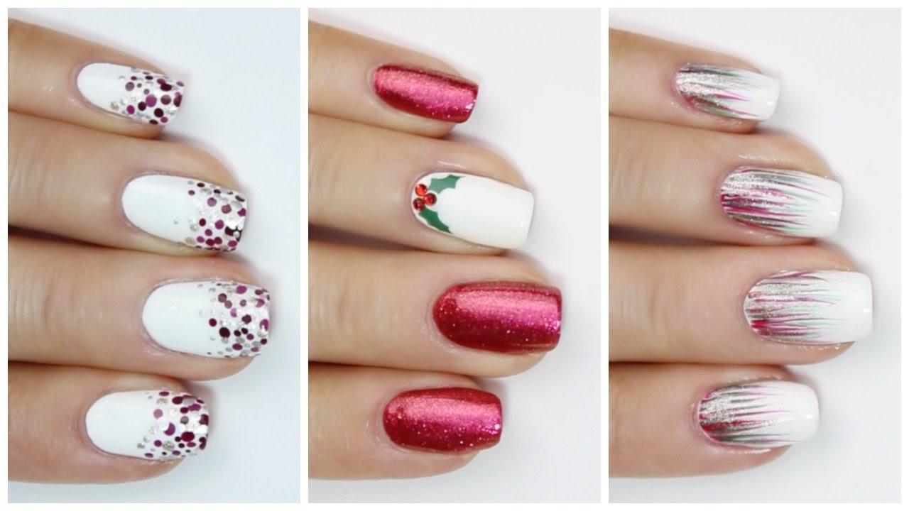 Easy Last Minute Christmas Nail Ideas Youtube