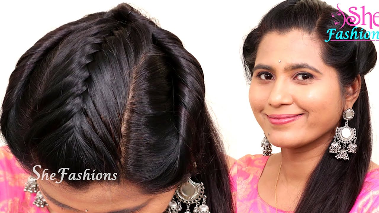 Party Wear Front Hairstyle For Long Hair Quick And Easy College Party Hairstyle Hair Style Girl Youtube