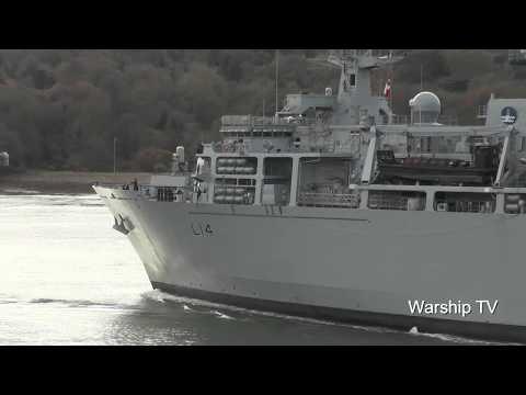 HMS ALBION L14 LEAVES DEVONPORT NAVAL BASE AT DEVIL'S POINT - 4th December 2017