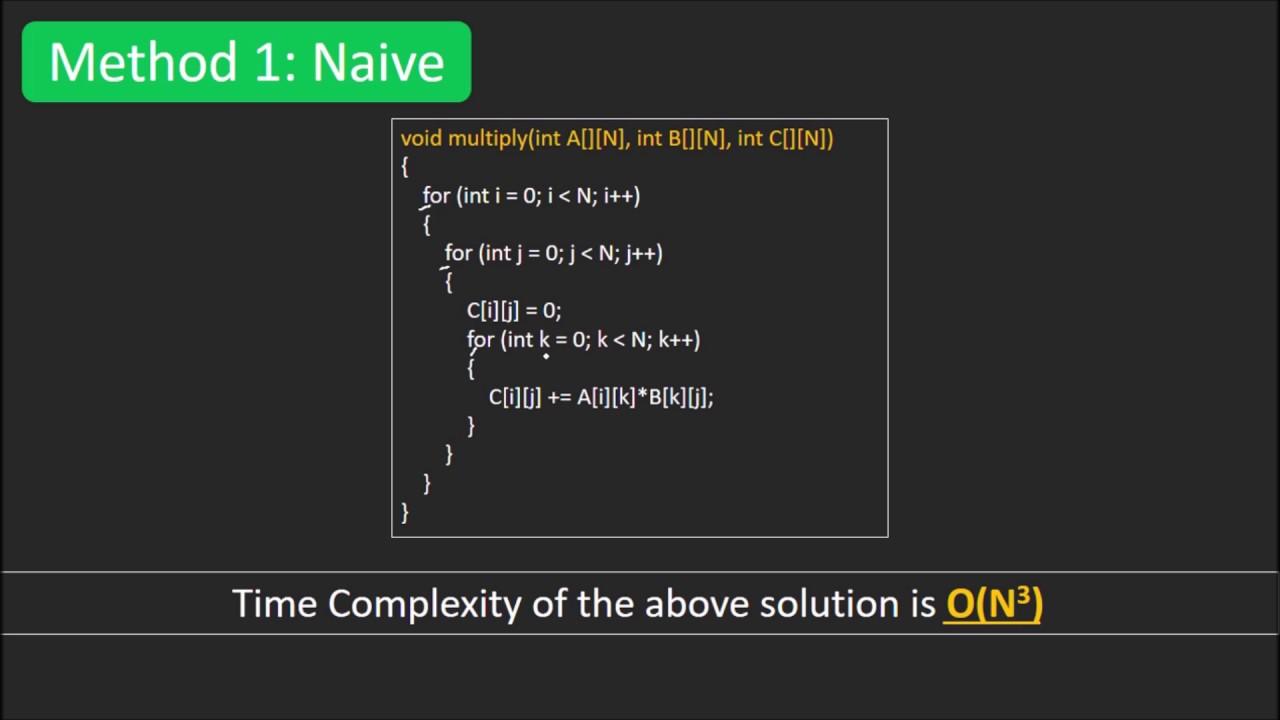 Divide and Conquer | Set 5 (Strassen's Matrix Multiplication