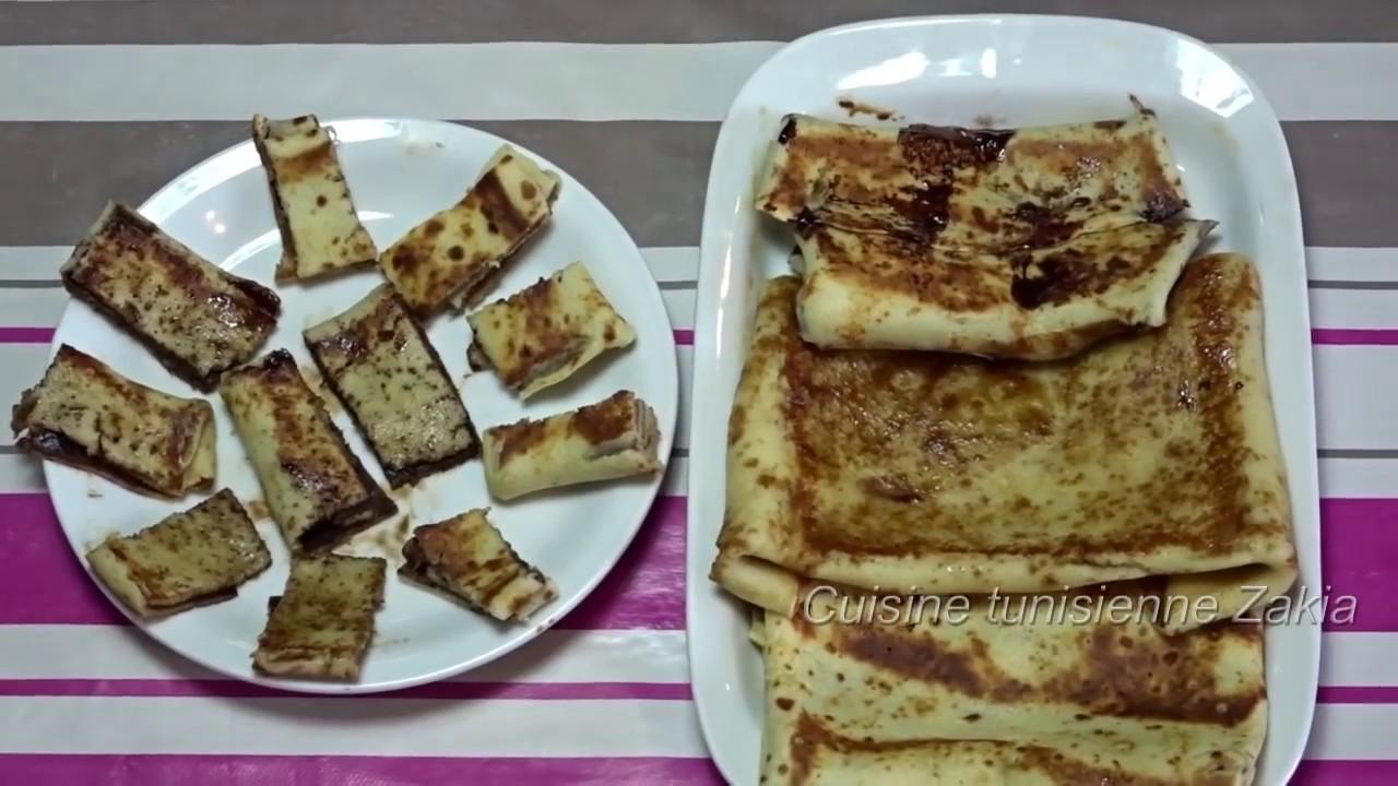 Cuisine Tunisienne Zakia كريب حلو سهل وبنين للصغار والكبار Crepe