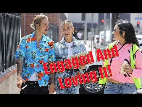 EXCLUSIVE – Justin Bieber And Hailey Baldwin Give The Sweetest Interview To Fans On The Street!