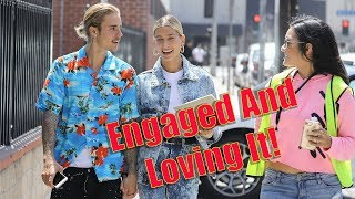 exclusive justin bieber and hailey baldwin give the sweetest interview to fans on the street