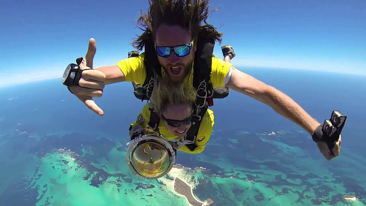 ICC CRICKET WORLD CUP 2015 TROPHY SKY DIVES INTO JURIEN BAY WESTERN