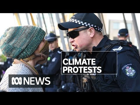 Police officers and protester taken to hospital after clashes at climate rally | ABC News
