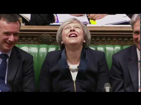 Theresa May PM Laughing like an Evil Mad Villain! 3 Repeats