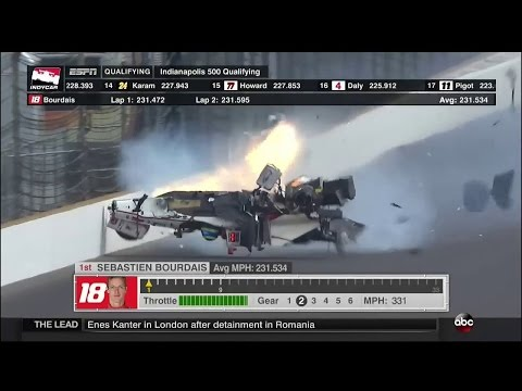 Sebastien Bourdais Huge Crash 2017 Indy500 Qualifying
