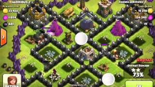 CLASH OF CLANS 20 lvl 6 giants 12 lvl 6 wizards 2 lvl5 wall