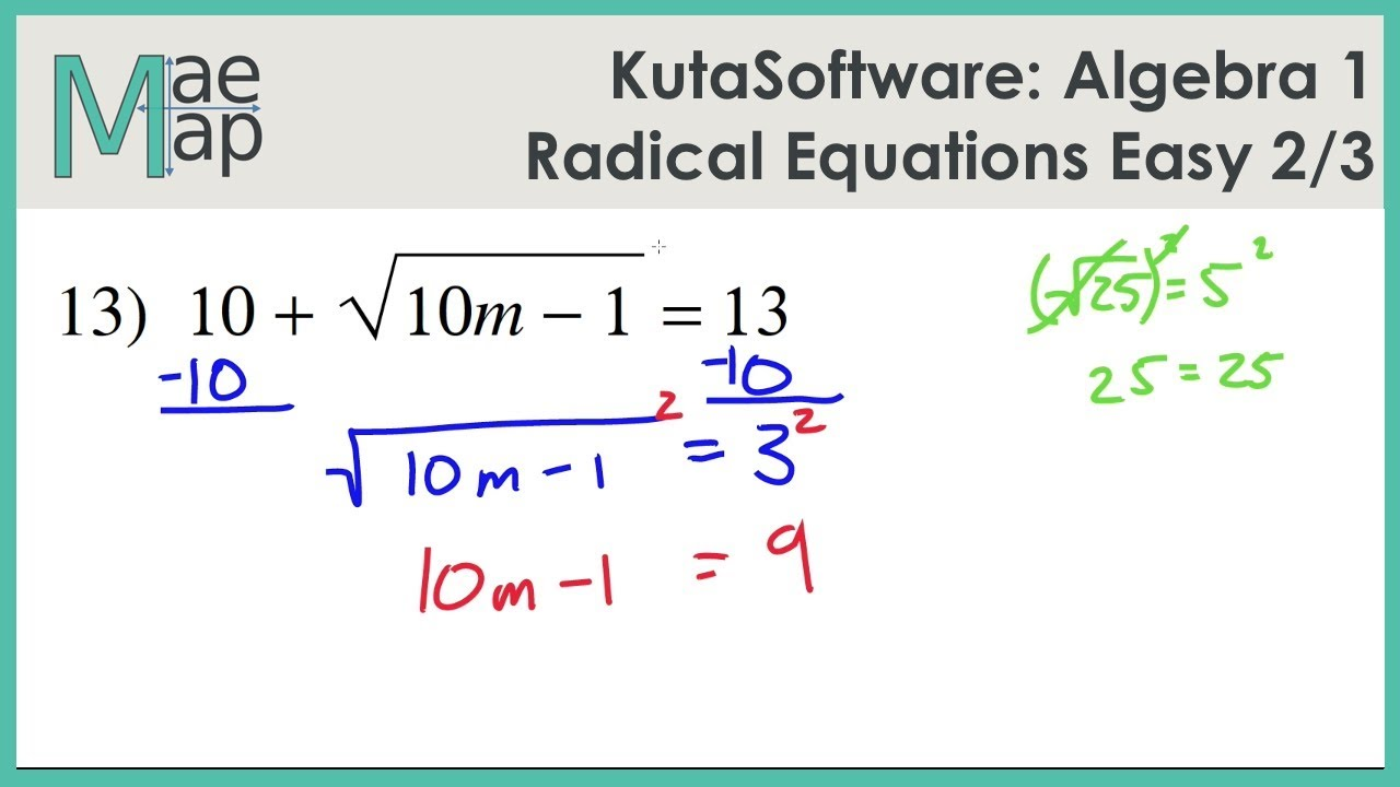 worksheet Algebra 1 Equations kutasoftware algebra 1 radical equations easy part 2 youtube 2