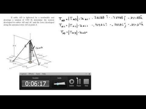 Determine the tension in cables AB and AC and the force along AE