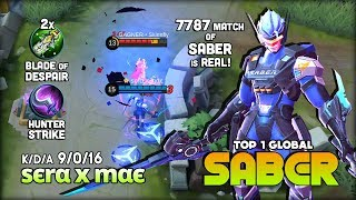 Perfect Gameplay! 7.7k Match of Saber is Real! sєrα х mαє Top 1 Global Saber ~ Mobile Legends
