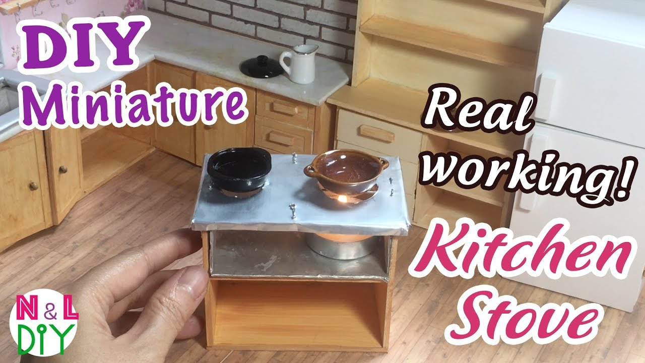 diy miniature real working kitchen stove for dollhouse how to make a candle stove for dollhouse - Kitchen Stove