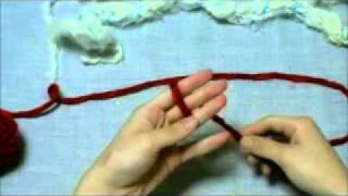 赤いお花のラリエットの作り方