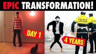 Guy uses YouTube to teach himself to dance - 4 YEARS OF TRANSFORMATION ( FAST EDITION)