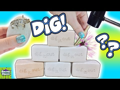 Dig It Bars! Will I Find Gems, Fossils, Pearls, Dinosaurs?  Whats Inside? Doctor Squish