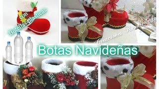 Botas Navideñas con botellas plasticas DIY Material Reciclado/Santa Boots Out of Plastic Bottle 🎅🎄