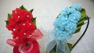 Organza Hydrangea Flower Headband – Flores em Organza