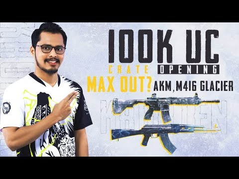 PUBG MOBILE | 1,00,000 UC CRATE OPENING | AKM GLACIER AND M416 GLACIER MAX OUT??  PART 1